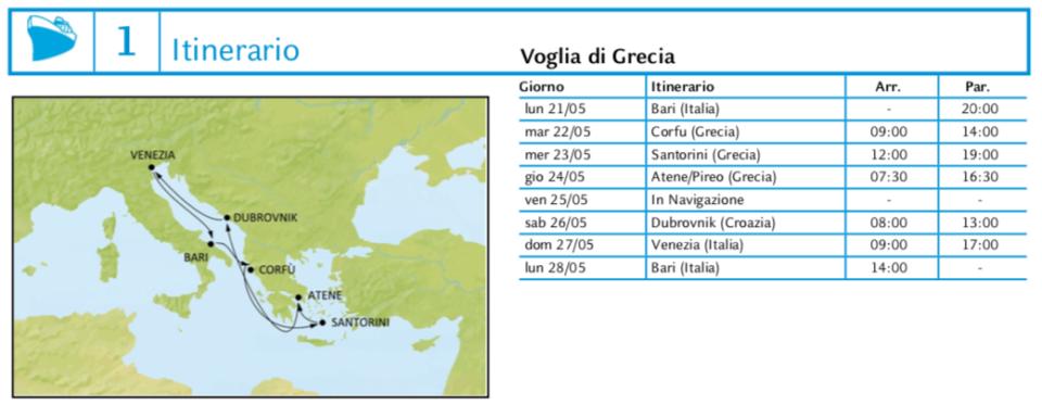 Itinerario Crociera Grecia 2018