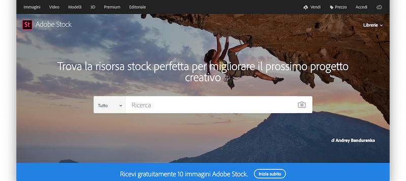 Screenshto Adobe Stock foto Desktop website